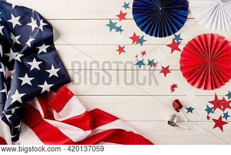 Decorations For 4Th July, Independence Day Usa. Paper Fans, National Flag, Stars And Noisemakers On