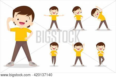 Set Of Boy On Exercise Various Actions,there Are Various Actions To Move The Body Healthy