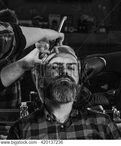 Man At Hairdresser Salon. Mastered Craft From Cutting Hair Every Day. Visit Hairdresser. Maintaining