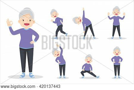 Bundle Set Of Elderly Woman On Exercise Various Actions. Grandmother Are Various Actions To Move The