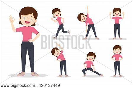 Bundle Set Of Woman On Exercise Various Actions. Mother Are Various Actions To Move The Body Healthy