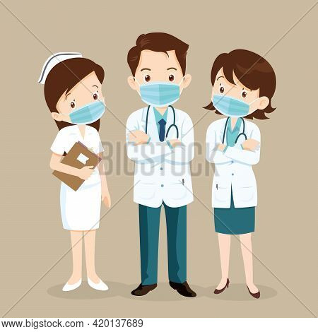 Doctors And Nurses Characters Wearing Masks,character Doctors And Nurses Wearing A Surgical Face Mas