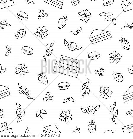 Sweet Cake Vector Seamless Pattern. Cake Shop, Candy, Flowers, Berries And Leaves Hand Drawn Illustr