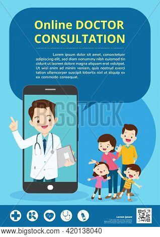 Smart Doctor On The Phone Screen With Family,mobile App Family Doctor. Family Using Mobile Applicati