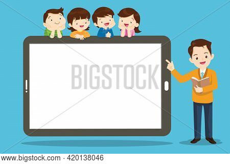 Group Of Kids Watching Online Teacher Class On Tablet Computer. Internet Education At Home Program C