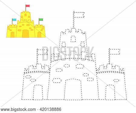 Sand Castle. Complete Picture. Educational Children Game. Tracing Lines Activity For Toddlers. Summe