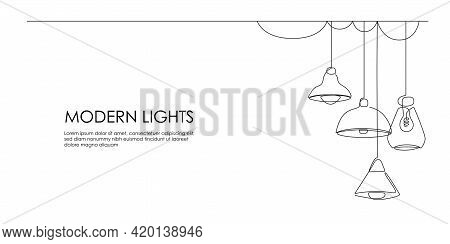 Set Of Loft Lamps And Iron Lampshades In One Line Drawing. Horizontal Banner In Minimalistic Industr