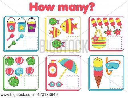 Counting Educational Children Game. Study Math, Numbers, Addition For Preschool. Summertime Theme Ki
