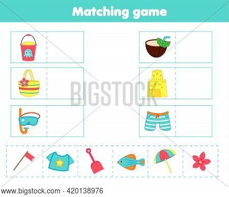 Matching Children Educational Game. Match Beach Objects With Each Other. Activity For Kids And Toddl