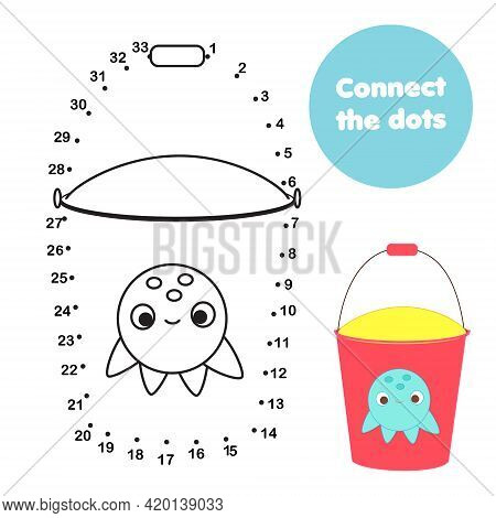 Connect The Dots. Dot To Dot By Numbers Activity For Kids And Toddlers. Children Educational Game. B