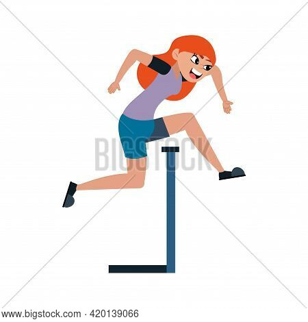 Isolated Female Athlete Character Practicing Athletic Vector Illustration