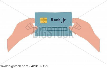 Childrens Hands Are Holding A Debit Card For Kids. Childrens Finance And Investment. Financial Liter