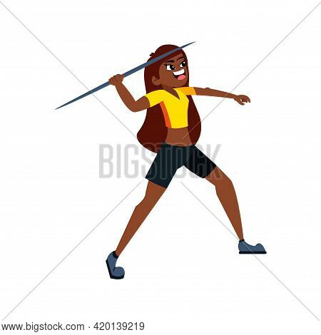 Isolated Female Character Throwing A Javelin Vector Illustration