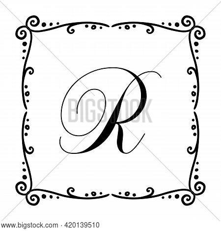 Beautiful Vintage Monogram Frame. Vector Ornate Calligraphic Design Element. Vector Illustration