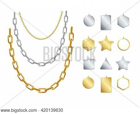 Realistic Detailed 3d Gold And Silver Chain Necklace With Pendants Set. Vector