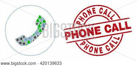 Winter Covid-2019 Mosaic Phone Call, And Unclean Phone Call Red Round Stamp Imitation. Mosaic Phone