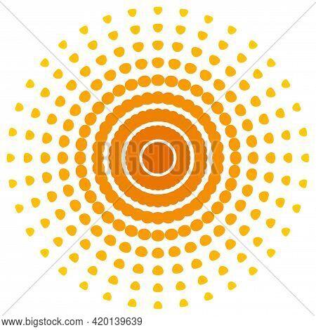 Screen Printing Pattern. Radiant Frame. Abstract Vortex. Circular Pattern. Pop Art Round Halftone Fr