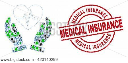 Winter Covid-2019 Collage Heart Surgery Care Hands, And Dirty Medical Insurance Red Round Stamp Prin