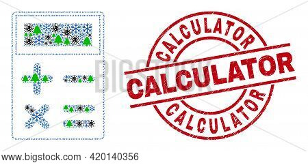 Winter Covid Collage Calculator, And Unclean Calculator Red Round Stamp Seal. Collage Calculator Is