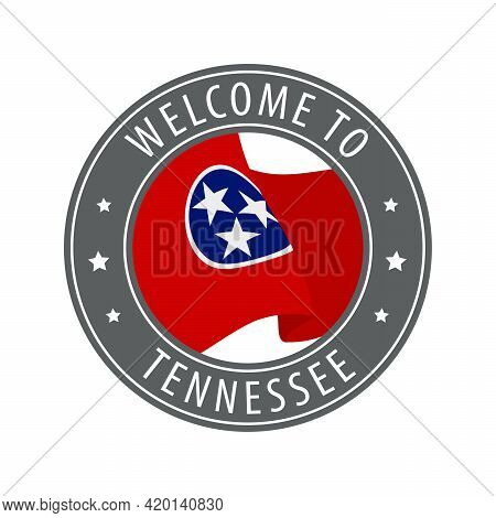 Welcome To Tennessee. Gray Stamp With A Waving State Flag. Collection Of Welcome Icons.