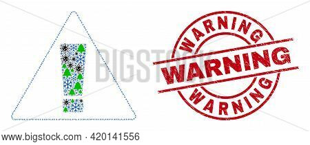 Winter Covid-2019 Mosaic Warning, And Warning Red Round Stamp Print. Collage Warning Is Formed From