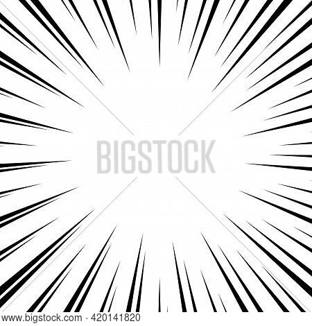 Black And White Optical Illusion Burst Background. Halftone Effect. Abstract Radial, Convergent Line