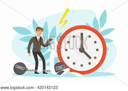 Unsuccessful Businessman With Debt Weight And Big Weight Clock, Business And Financial Failure, Cris