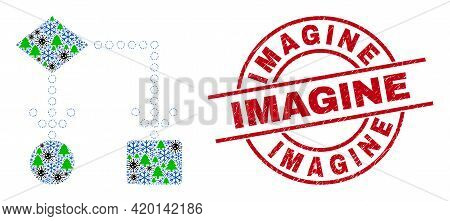 Winter Coronavirus Collage Block Diagram, And Scratched Imagine Red Round Stamp Print. Collage Block