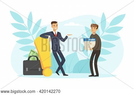 Successful And Unsuccessful Business Characters, Path To Success, Solution And Decision Concept Vect