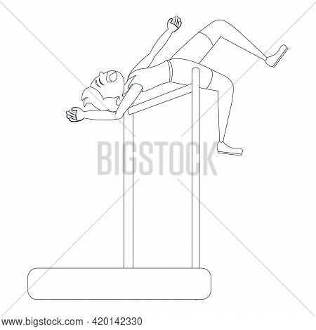 Isolated Male Athlete Character Practicing Athletic Vector Illustration