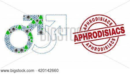 Winter Viral Combination Gay Pair Symbol, And Distress Aphrodisiacs Red Round Stamp Seal. Mosaic Gay