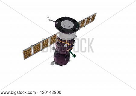 Spacecraft Model. Orbital Station, Orbital Artificial Earth Satellite Isolated On White Background.