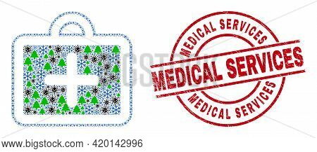 Winter Pandemic Composition First-aid Case, And Dirty Medical Services Red Round Stamp Imitation. Co