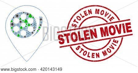 Winter Coronavirus Collage Movie Map Marker, And Distress Stolen Movie Red Round Stamp Imitation. Mo