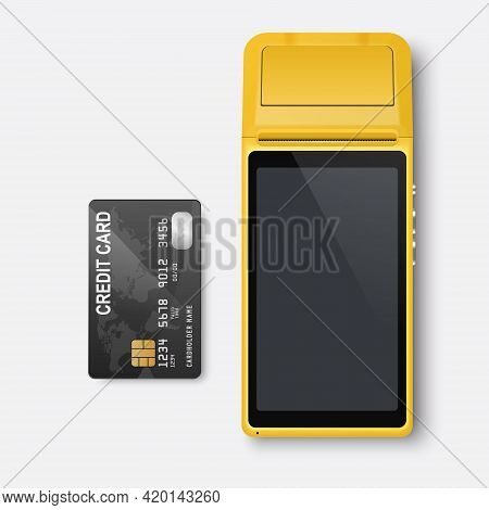 Vector Realistic Yellow 3d Payment Machine. Pos Terminal, Credit Card Closeup Isolated. Approved Pay