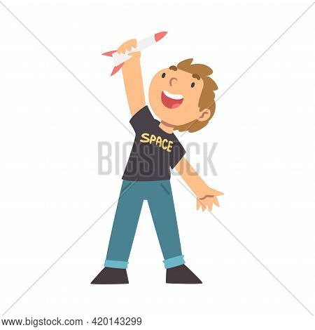 Cute Boy Playing With Toy Spacecraft Vector Illustration