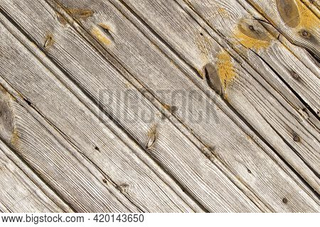 Natural Brown Background Aged Wood Texture Pattern With Diagonal Lines, Some Old Yellow Paint And Ru