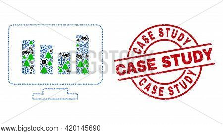 Winter Viral Mosaic Online Chart, And Rubber Case Study Red Round Stamp. Mosaic Online Chart Is Made
