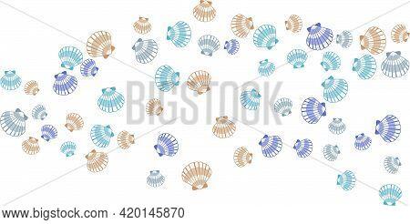 Seashell Blue Brown Vector Graphics, Pearl Bivalved Mollusks Illustration. Sea Scallop, Bivalve Pear