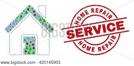 Winter Viral Collage Home, And Rubber Home Repair Service Red Round Stamp Imitation. Collage Home Is