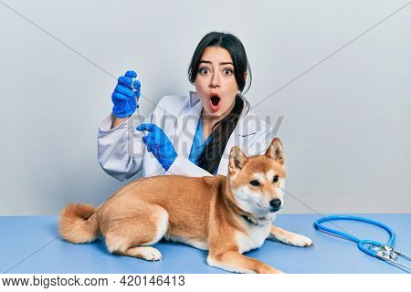 Beautiful hispanic veterinarian woman putting vaccine to puppy dog afraid and shocked with surprise and amazed expression, fear and excited face.