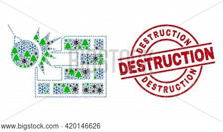 Winter Covid-2019 Mosaic Crush The Wall, And Rubber Destruction Red Round Stamp Print. Mosaic Crush