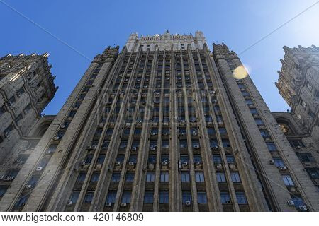 Russia, Moscow, May 10, 2021: Building Of The Ministry Of Foreign Affairs Of The Russian Federation.