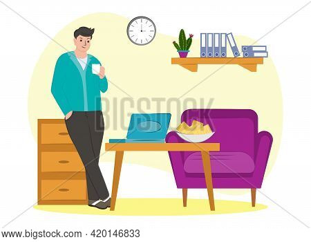 Man At Home Drinking Coffee. A Freelancer At Home On The Weekend. Living Room Interior. Vector Illus