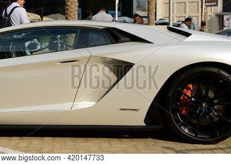 Dubai, Uae - November 16: The Lamborghini Aventador S Coupe Sportscar Is On Dubai Motor Show 2019 On