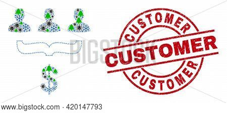Winter Viral Collage Customer Sales Funnel, And Grunge Customer Red Round Stamp Seal. Collage Custom