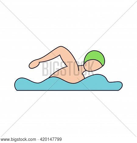 Isolated Male Athlete Character Icon Swimming Vector Illustration