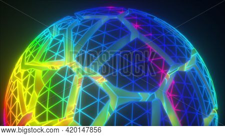 Geometric 3d Render Round Frame With Broken Joints And Cyber Fractals. Futuristic Ball With Polygona
