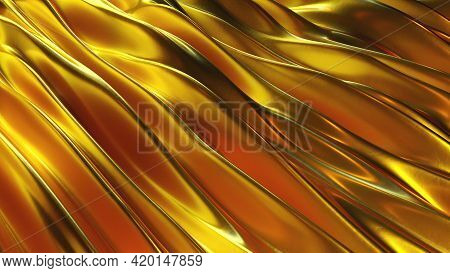 Luxurious 3d Render Stripes In Geometric Flow With Linear Textures. Molten Jets Gold In Polished Cur