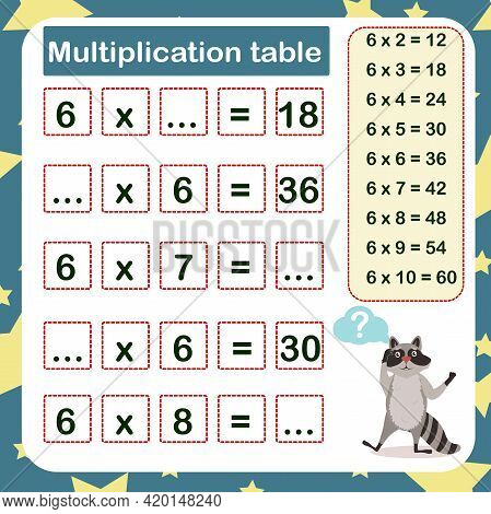 Vector Illustration Of The Multiplication Table By 6 With A Task To Consolidate The Knowledge Of Mul